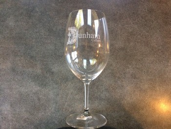 Dunham Logo Wine Glass